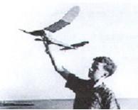 Paul MacCready with model airlplane.